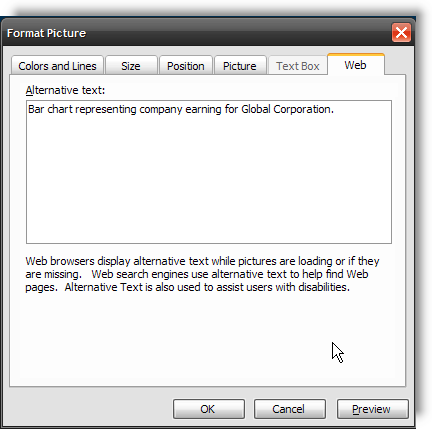 The Alternative Text dialog box